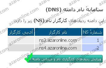 تغییر DNS دامنه IR