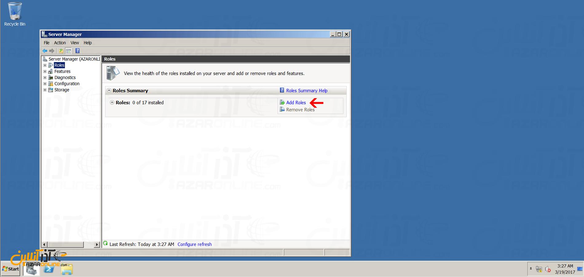 آموزش نصب iis در ویندوز 2008 - اضافه کردن رول