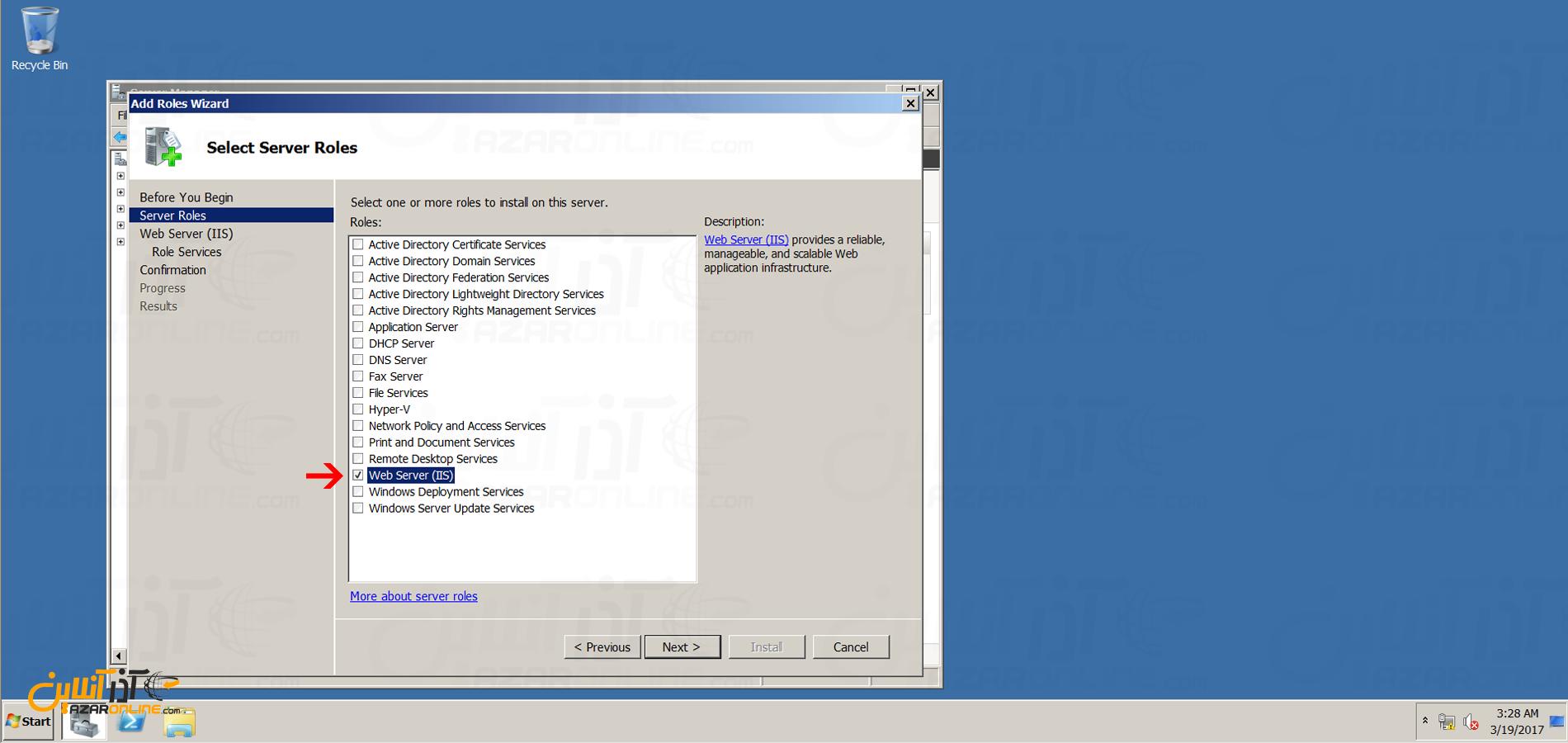 آموزش نصب iis در ویندوز 2008 - انتخاب رول وب سرور IIS