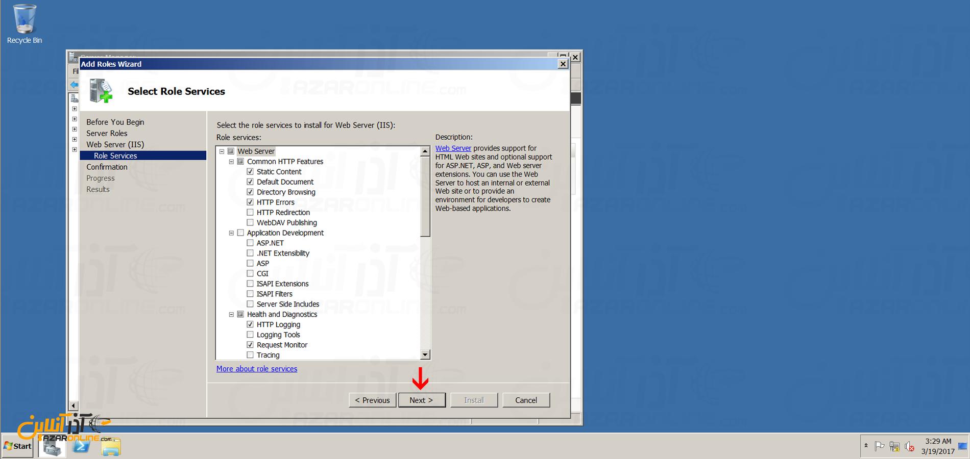 آموزش نصب iis در ویندوز 2008 - انتخاب سایر قابلیت های IIS