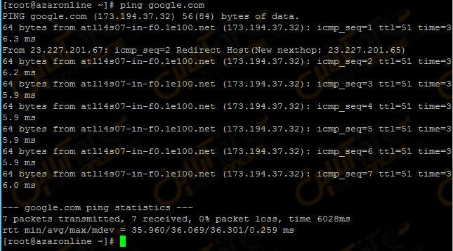 کانفیگ آدرس IP استاتیک - پینگ گوگل