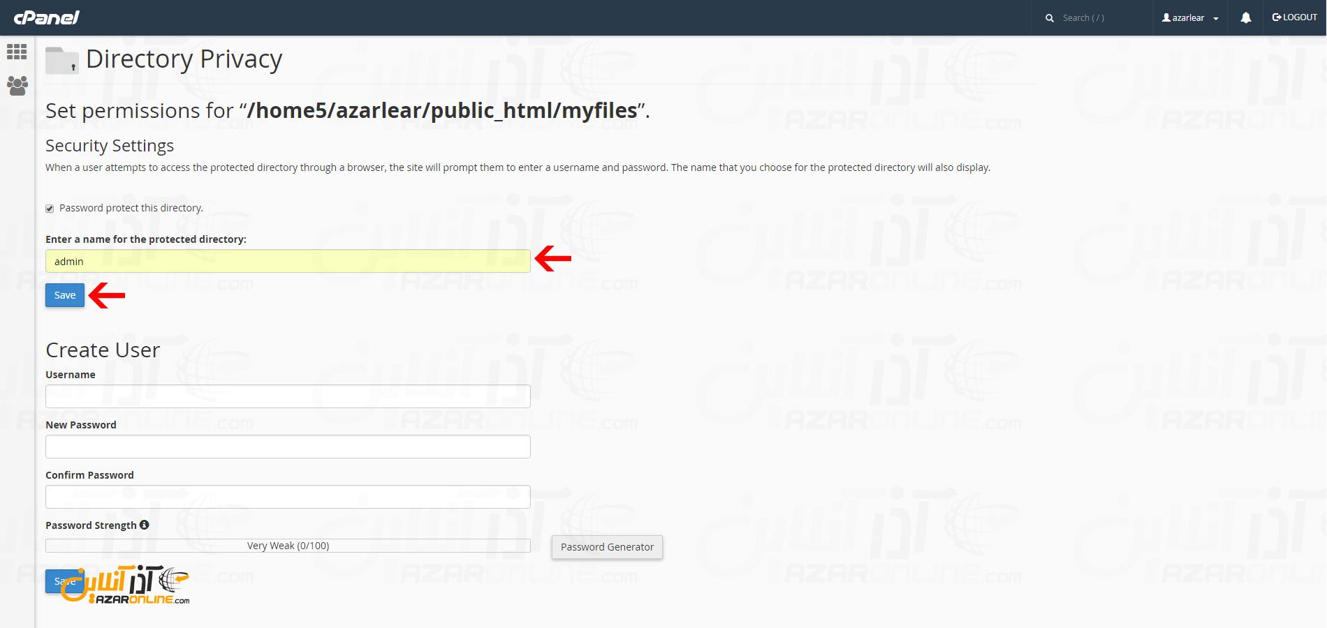 وارد کردن نام یوزر برای رمزگذاری پوشه