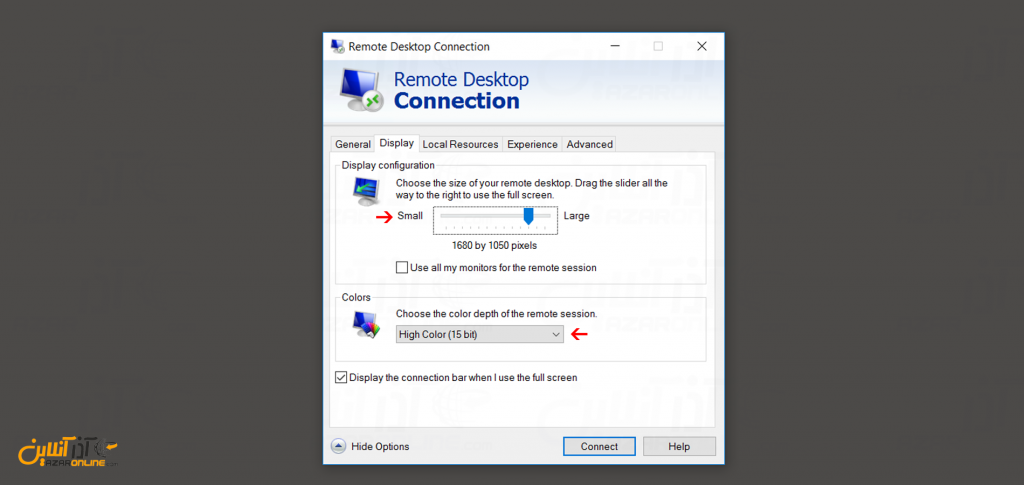 آموزش وصل شدن به سرور مجازی ویندوز - تنظیم سایز تصویر و رنگ