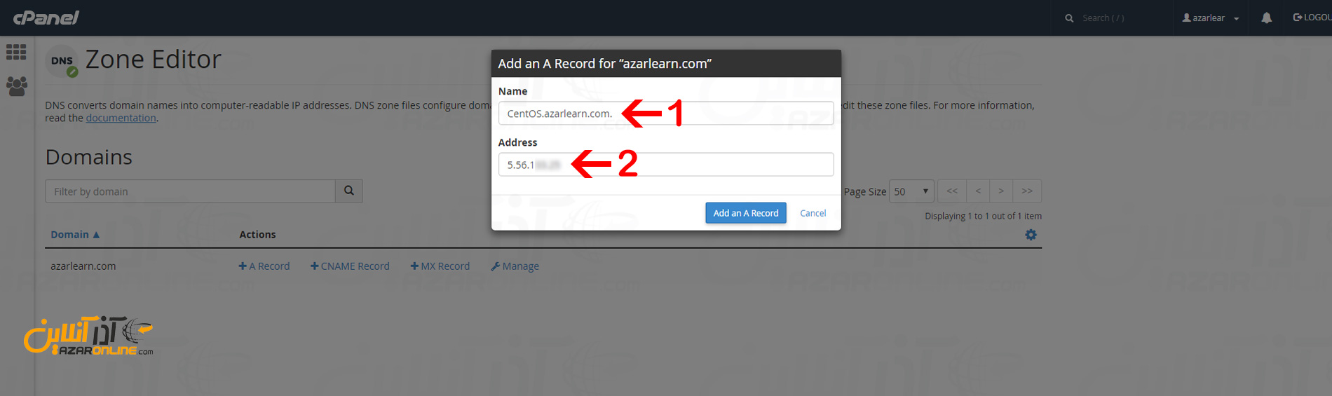 وارد کردن اطلاعات برای ساخت رکورد A