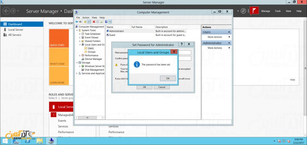 تغییر پسورد سرور مجازی ویندوز - پیغام صحت تغییر ویندوز