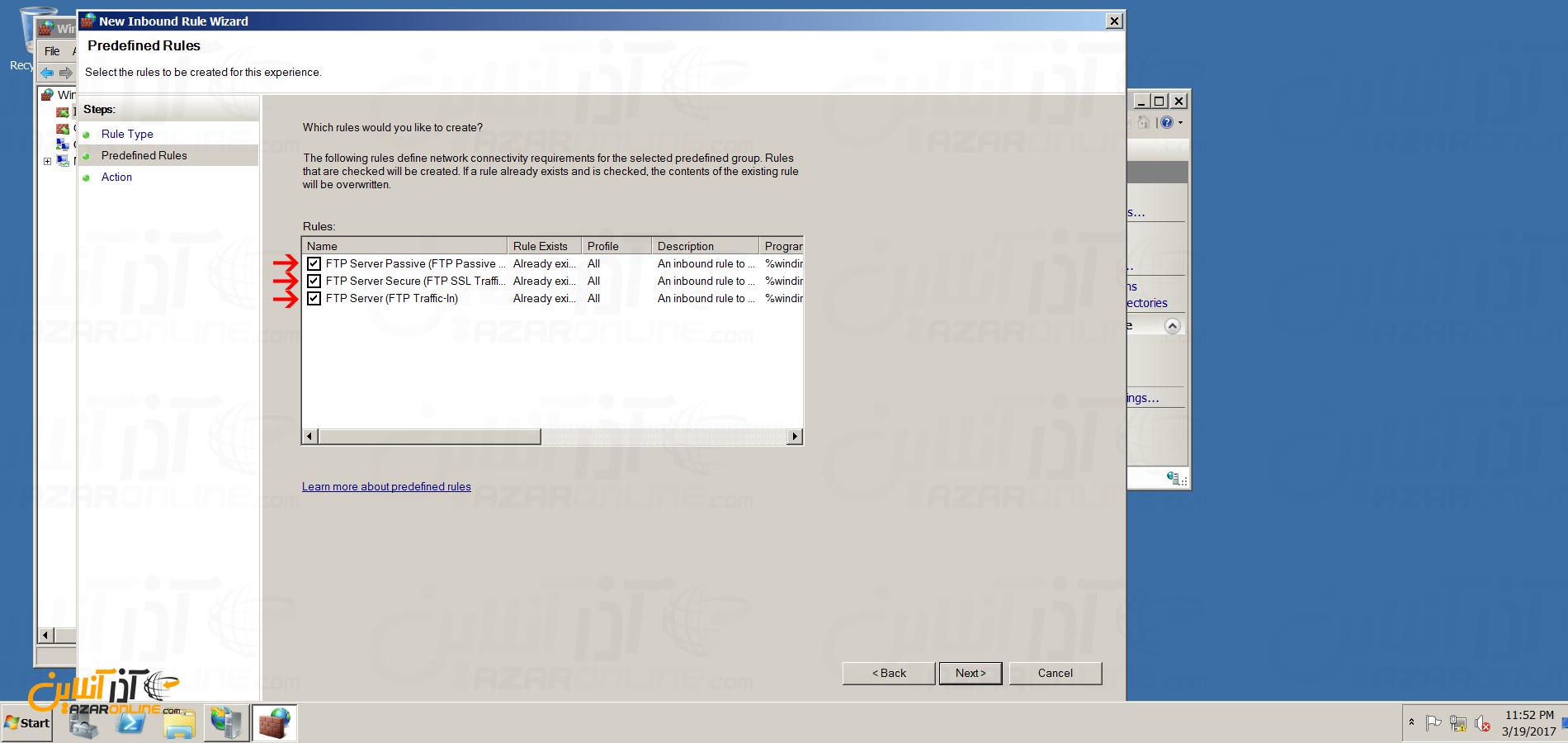 نصب FTP سرور در ویندوز سرور 2008 - تنظیم فایروال برای FTP Server
