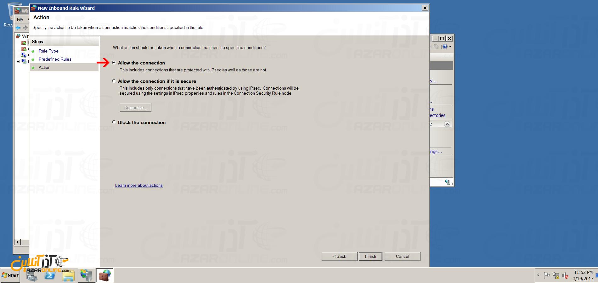 نصب FTP سرور در ویندوز سرور 2008 - تنظیم Action فایروال برای FTP سرور