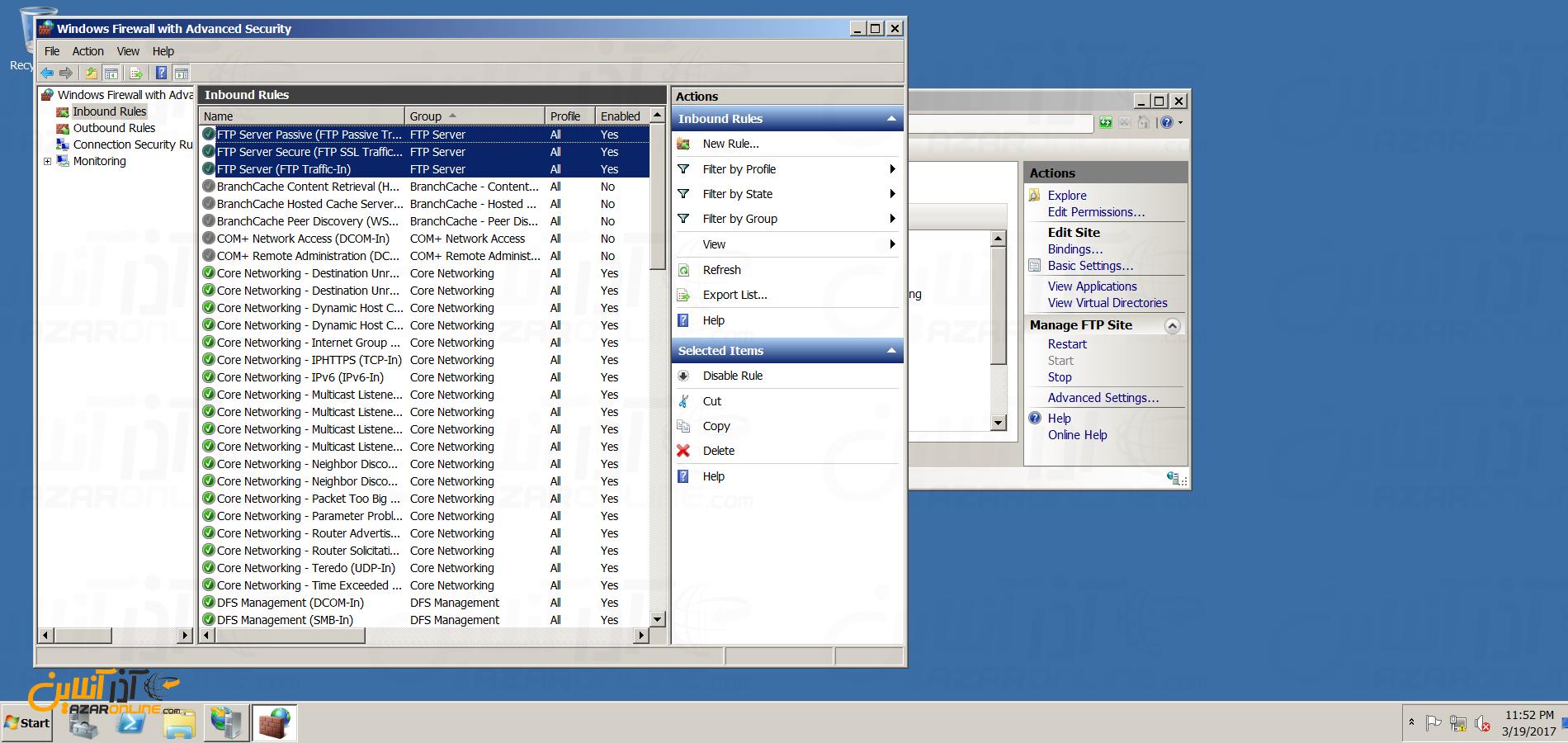 نصب FTP سرور در ویندوز سرور 2008 - اضافه شدن رول های فایروال