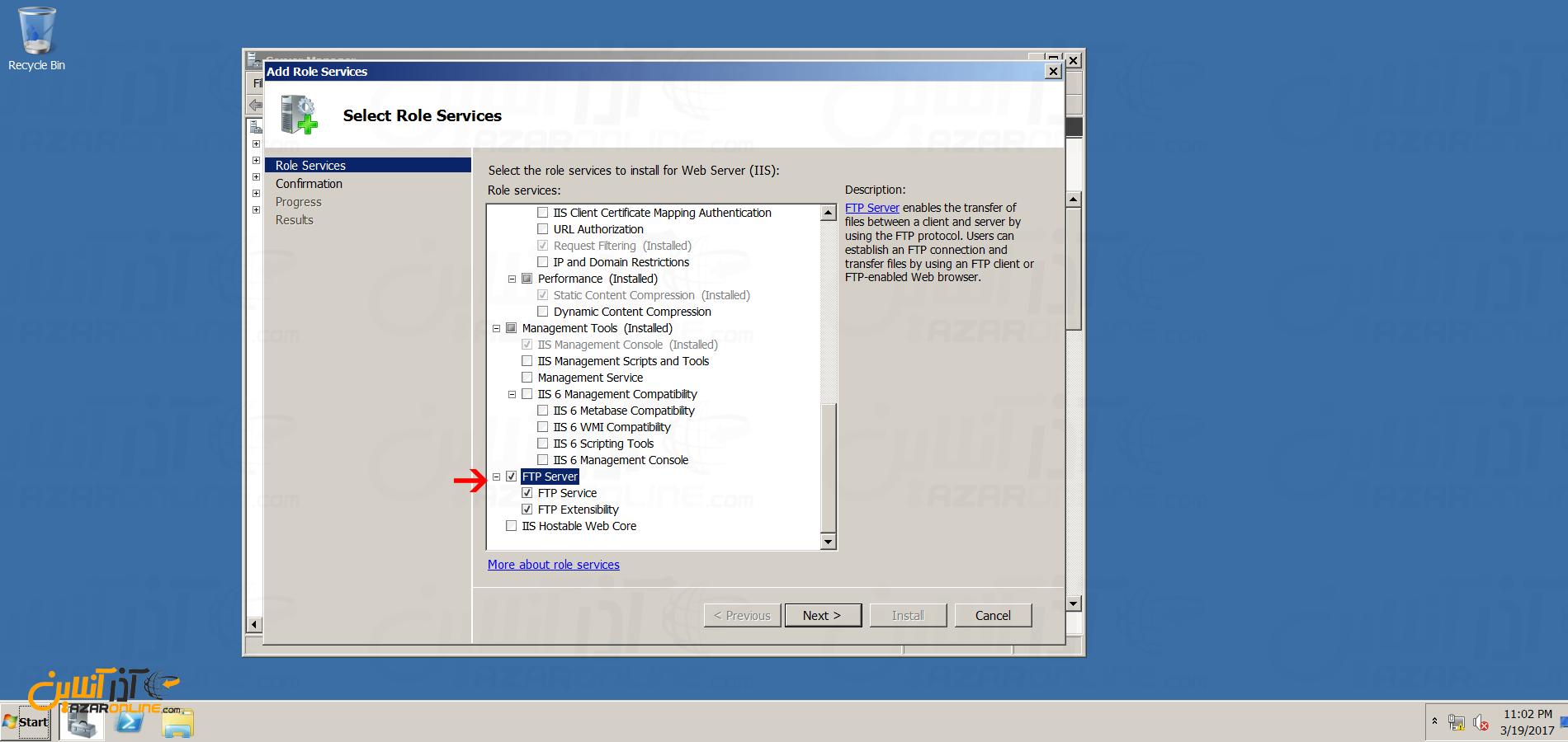 نصب FTP سرور در ویندوز سرور 2008 - انتخاب FTP