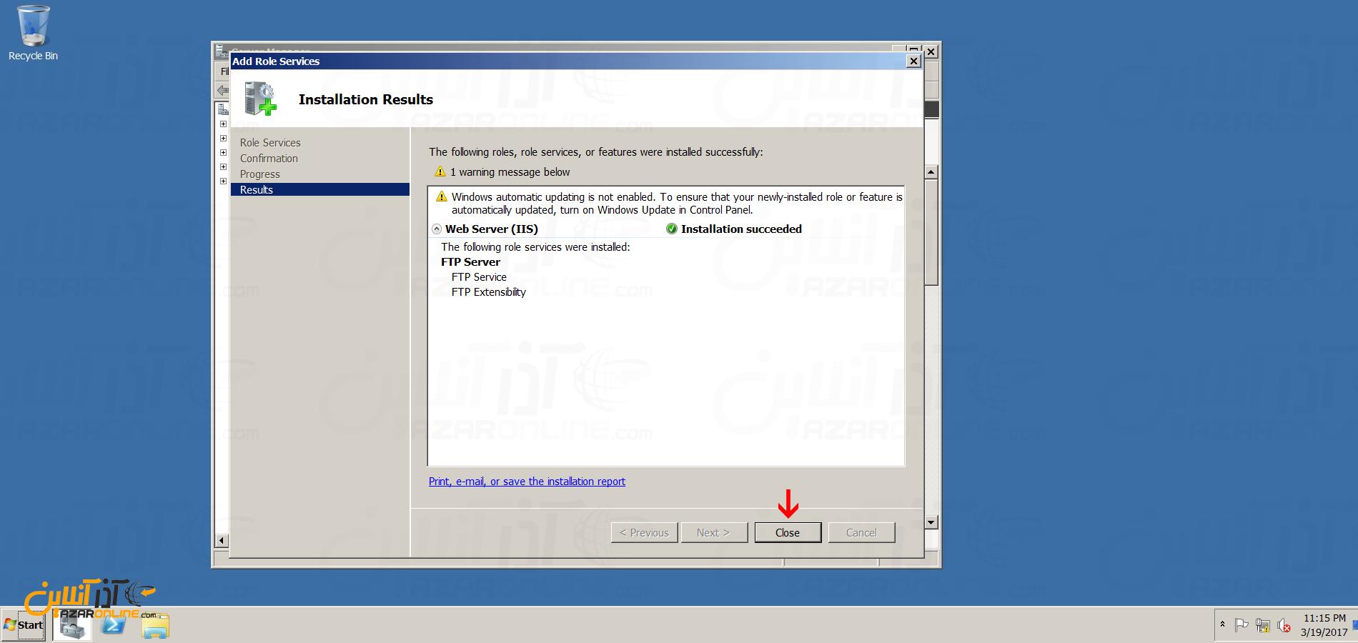 نصب FTP سرور در ویندوز سرور 2008 - اتمام نصب FTP