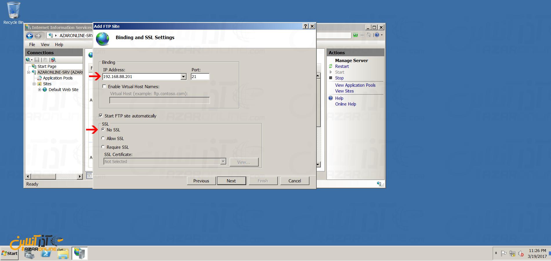 نصب FTP سرور در ویندوز سرور 2008 - انتخاب پورت و آی پی سرور