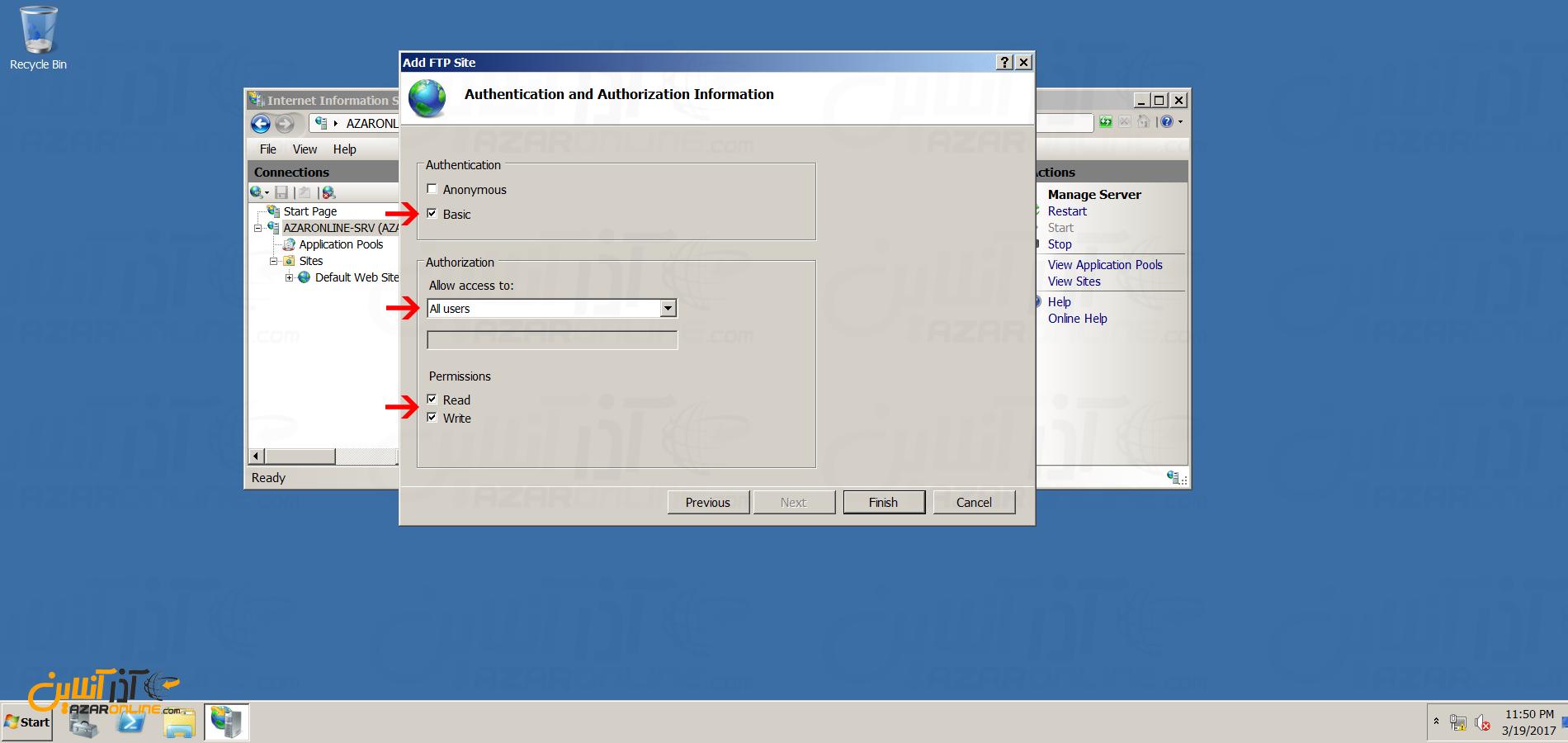 نصب FTP سرور در ویندوز سرور 2008 - انتخاب یوزر