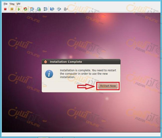 آموزش نصب ubuntu desktop روی vmware - اتمام نصب