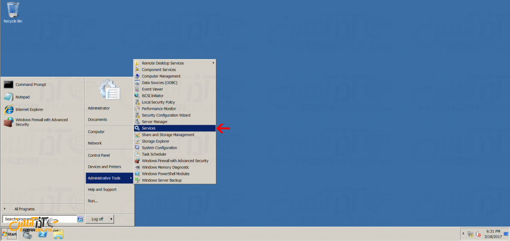 آموزش فعال کردن کارت صدا در سرور مجازی ویندوز 2008 - انتخاب سرویس