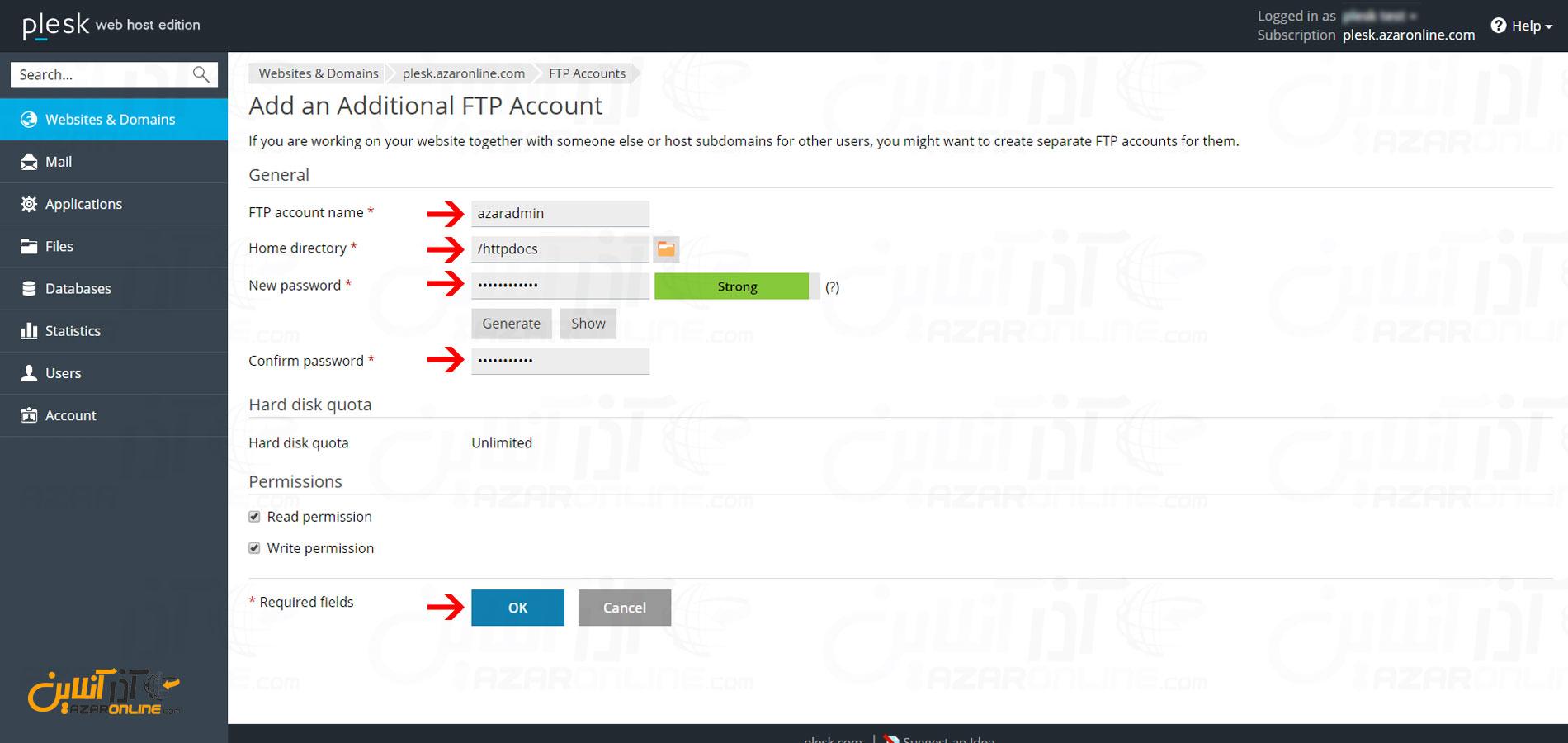 وارد کردن اطلاعات درخواستی جهت ساخت اکانت FTP