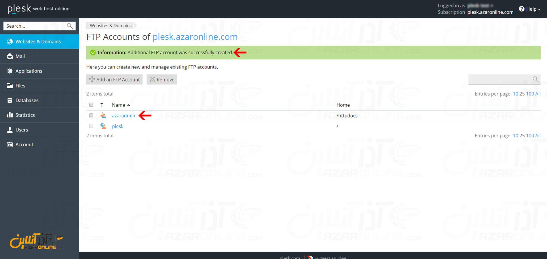 آموزش ساخت اکانت FTP در هاست پلسک - پیغام ساخته شدن اکانت