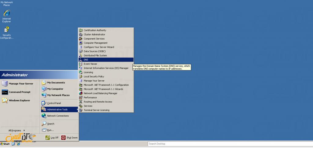 آموزش وصل کردن دامنه به سرور مجازی ویندوز 2003 - باز کردن DNS manager