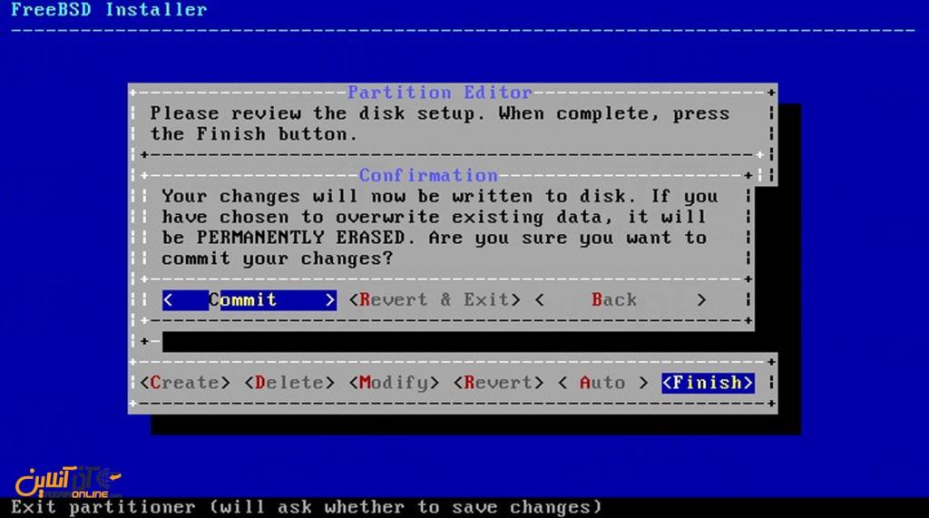 نصب freeBSD - تاییدیه دیسک