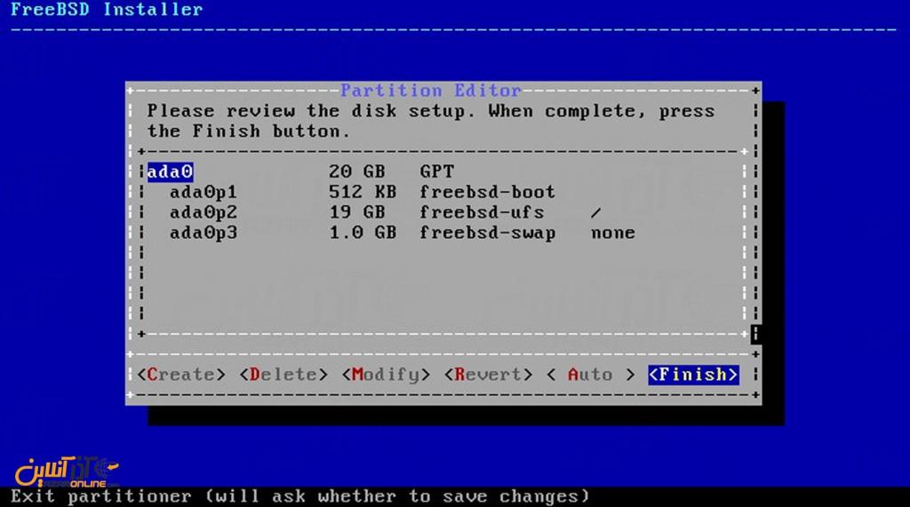 نصب freeBSD - اطلاعات دیسک