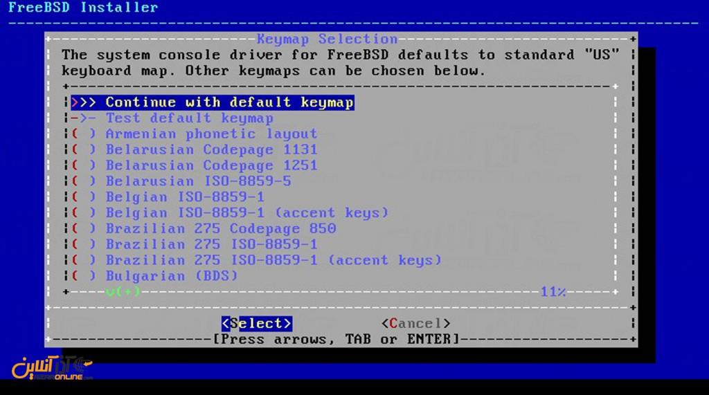 نصب freeBSD - انتخاب کیبورد