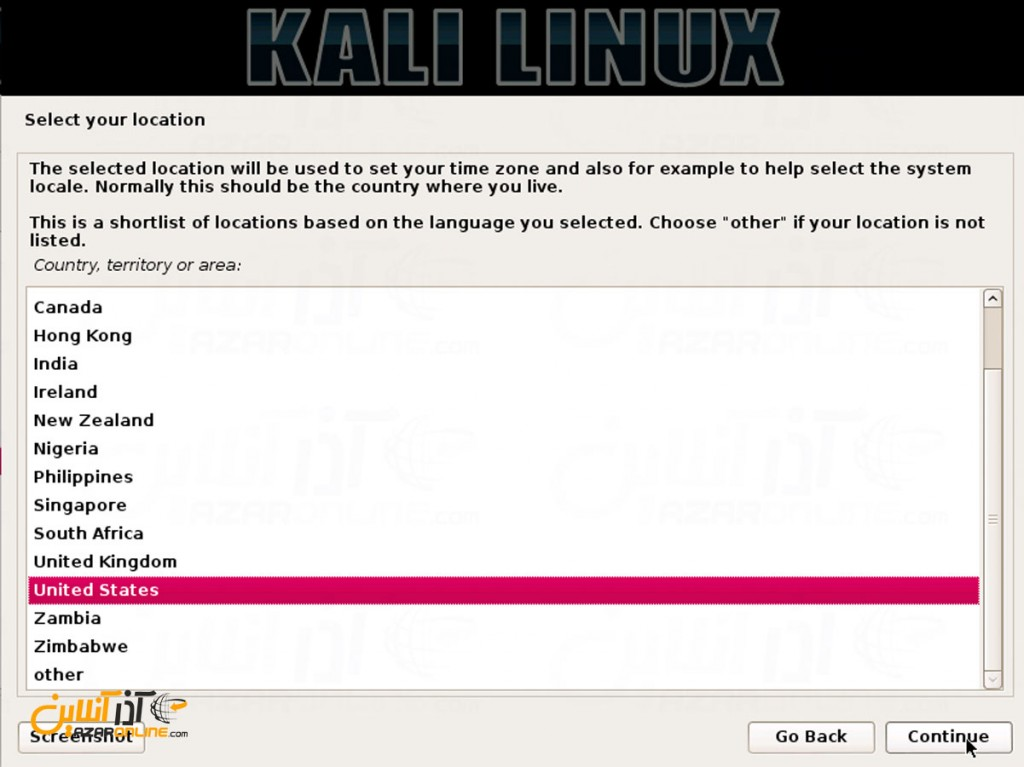 نصب لینوکس Kali - انتخاب کشور