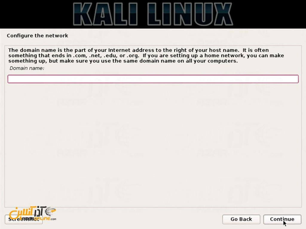 نصب لینوکس Kali - انتخاب نام دامنه