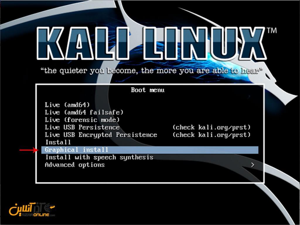 نصب لینوکس Kali - انتخاب نحوه نصب