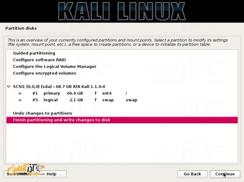 نصب لینوکس Kali - نمایش اطلاعات هارددیسک