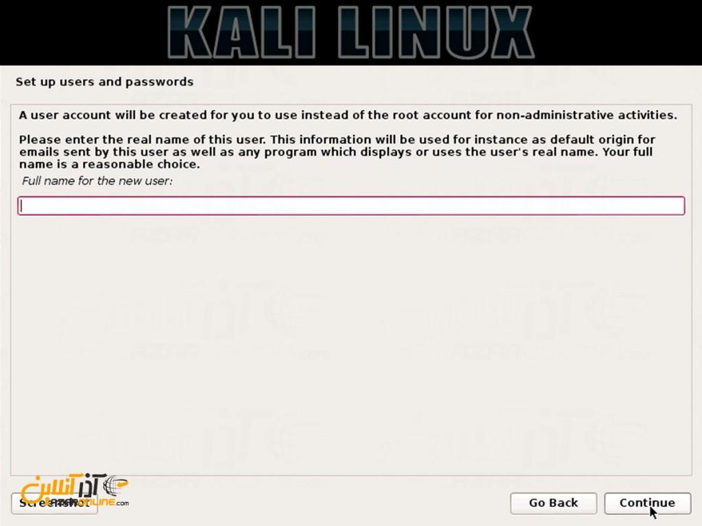 نصب لینوکس Kali - وارد کردن نام