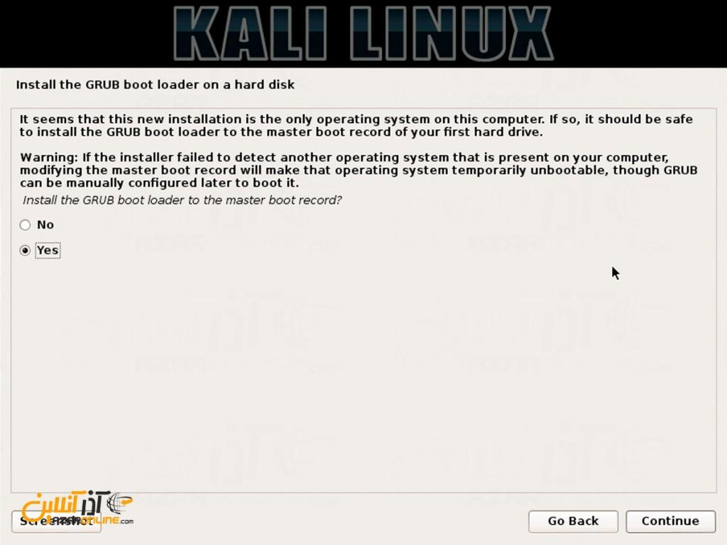 نصب لینوکس Kali - نصب گراب