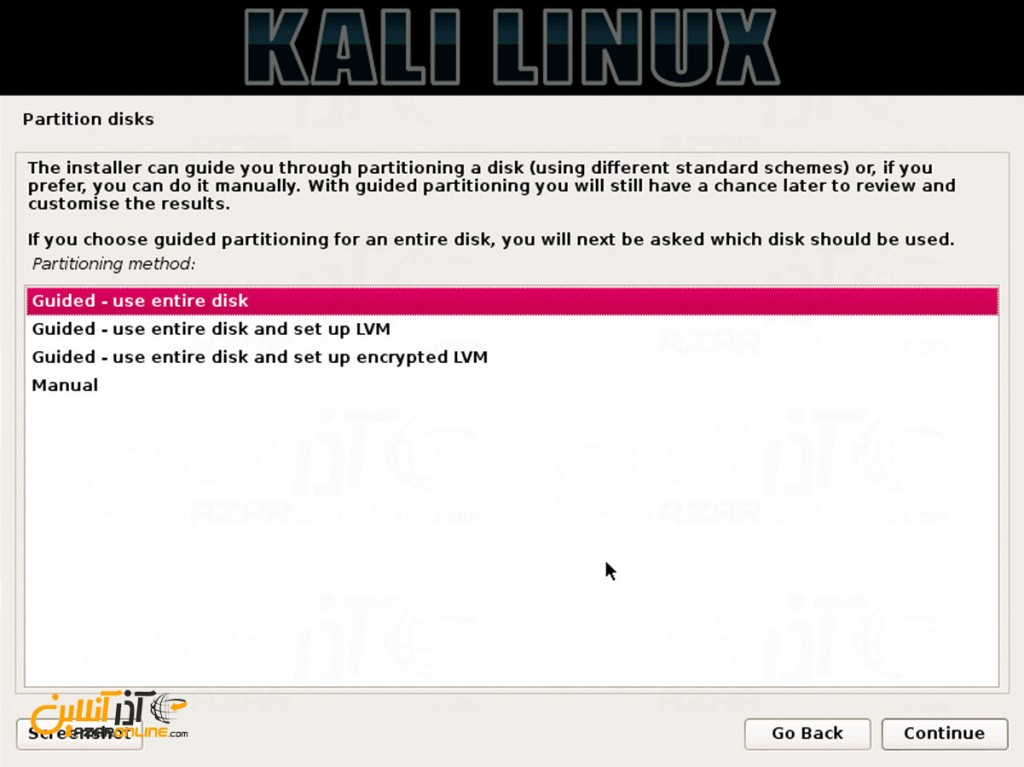 نصب لینوکس Kali - متد پارتیشن