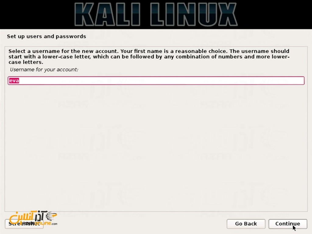نصب لینوکس Kali - وارد کردن نام کاربری