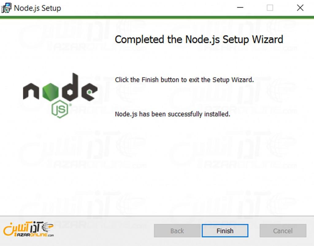 نصب Node.js در ویندوز - اتمام نصب نود جی اس