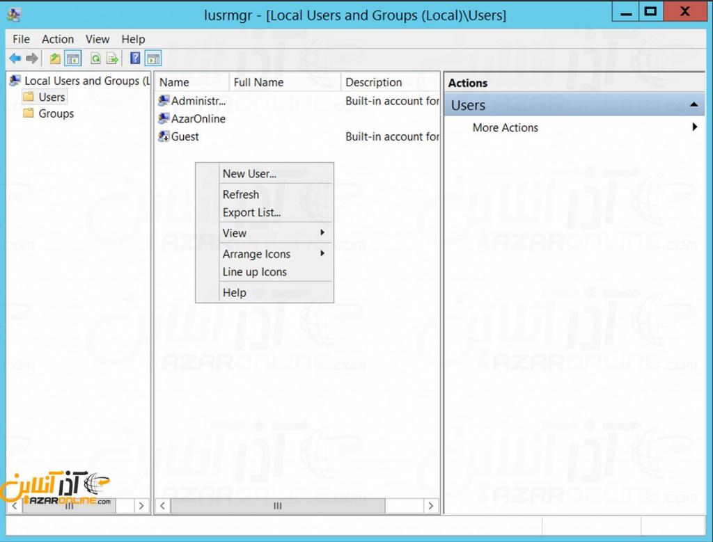 اضافه کردن یوزر در ویندوز سرور 2012 - کلیک راست