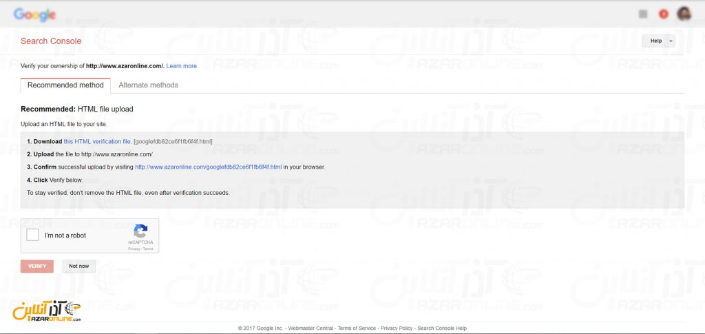 ثبت سایت در گوگل - تاییدیه