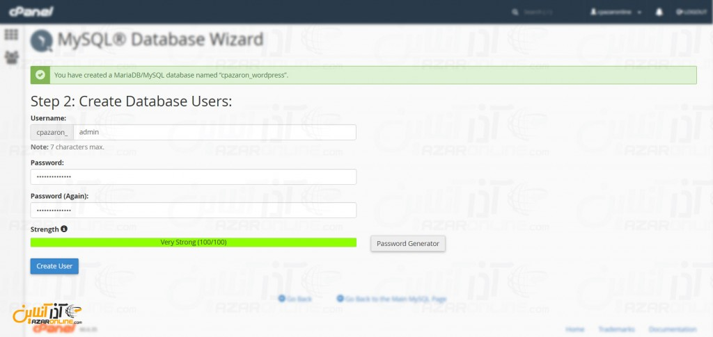 نصب وردپرس در Cpanel - نام کاربری جدید برای دیتابیس