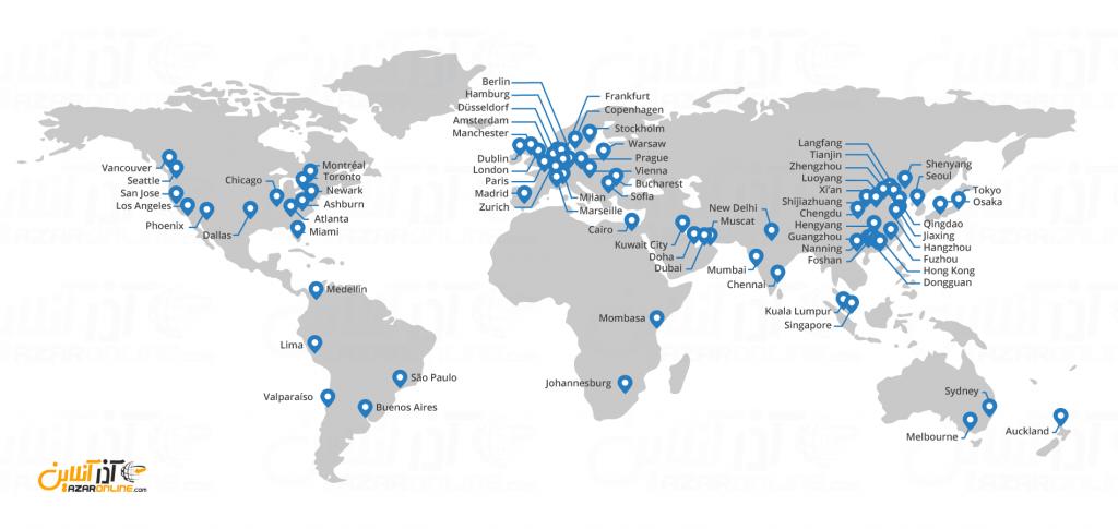 CDN کلودفلر - نقشه سرور کلودفلر