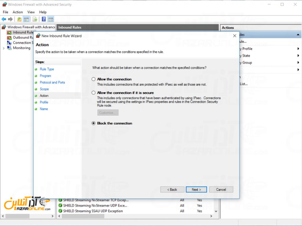 اضافه کردن رول در فایروال ویندوز - انتخاب اکشن فایروال