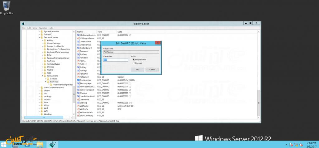 تغییر پورت Remote Desktop در ویندوز سرور 2012 - پیدا کردن کلید