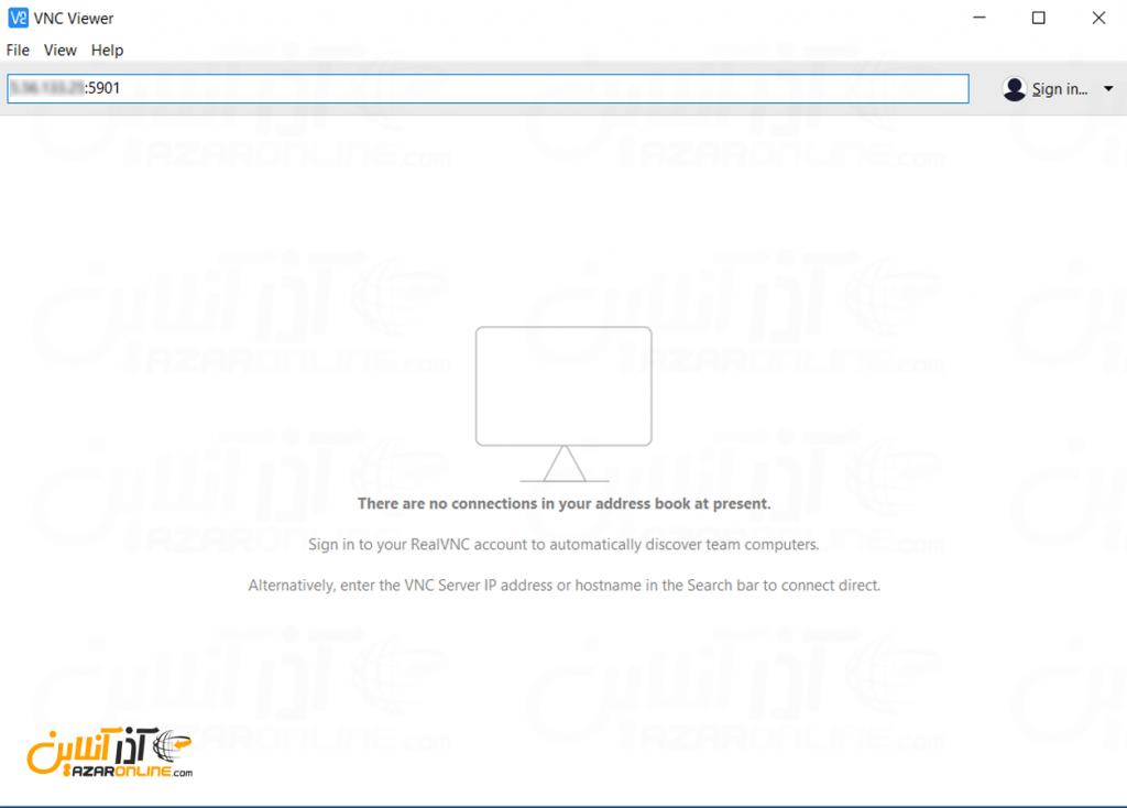نصب VNC روی لینوکس Centos - وارد کردن آدرس سرور