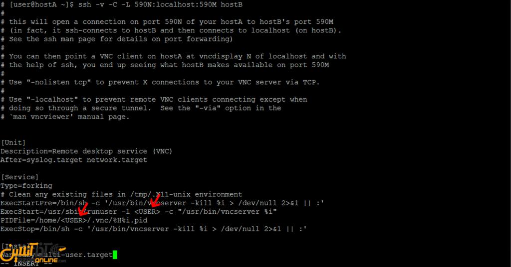 نصب VNC روی لینوکس CentOS 7 - ویرایش فایل VNC سرور