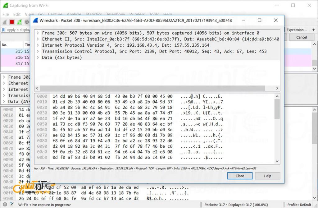 محیط Wireshark در ویندوز - جزئیات یک پکت