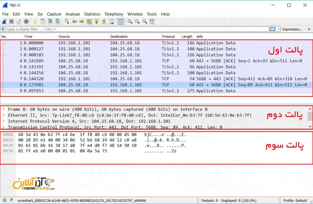 محیط Wireshark در ویندوز - صفحه اصلی