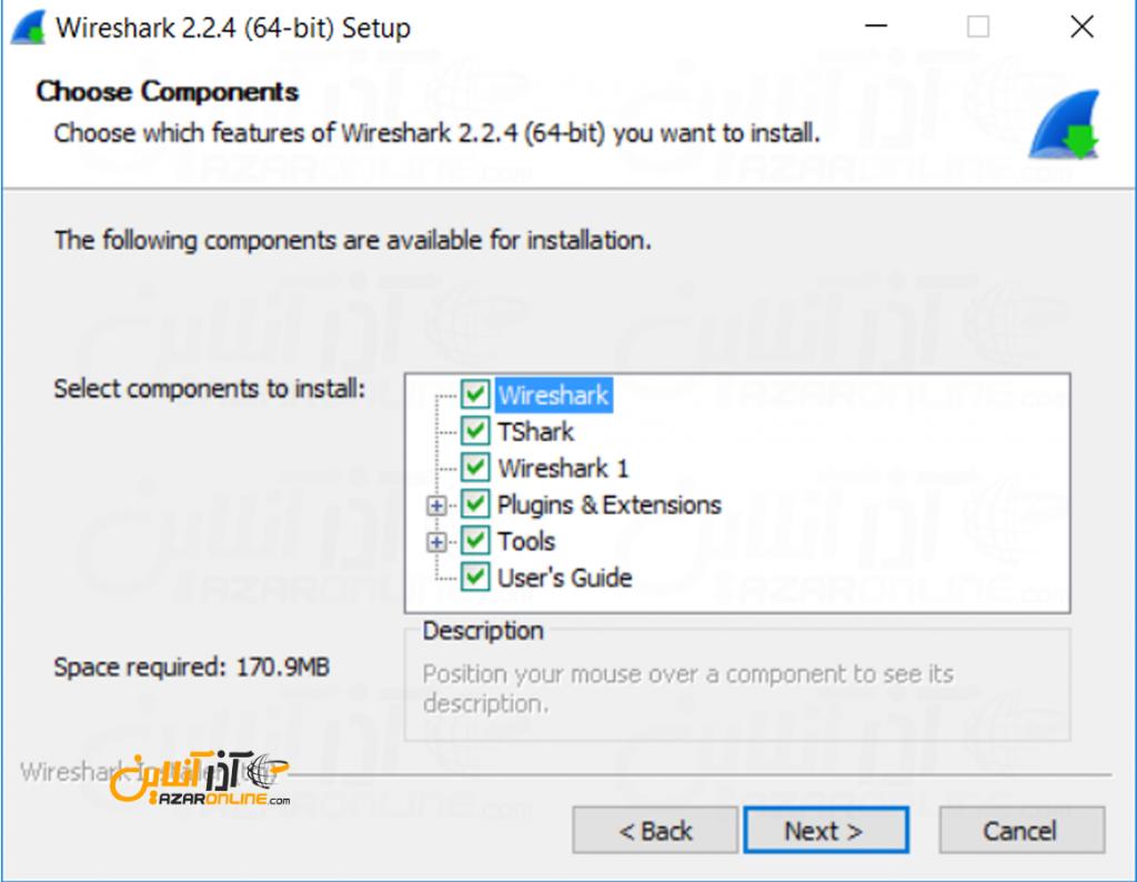 آموزش نصب wireshark - انتخاب کامپوننت