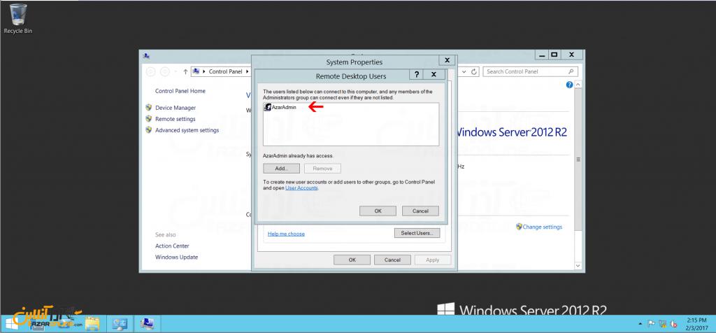 ایجاد محدودیت ریموت در ویندوز سرور 2012 - کاربر اضافه شد