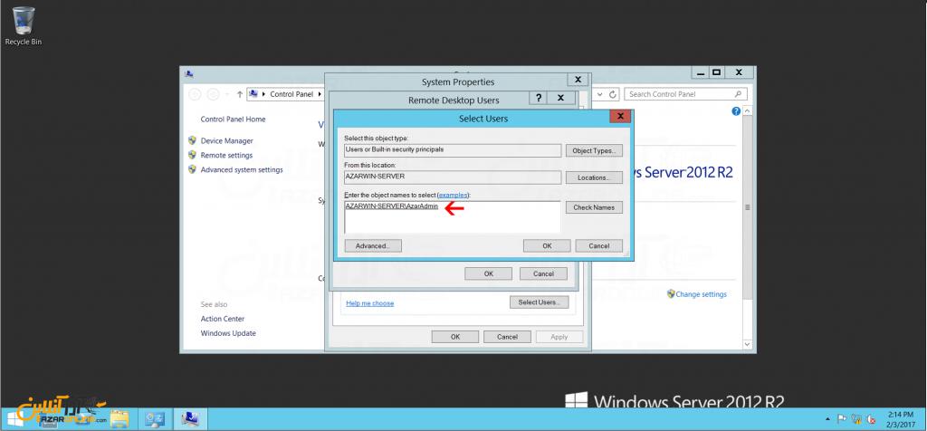 ایجاد محدودیت ریموت در ویندوز سرور 2012 - انتخاب کاربر مورد نظر