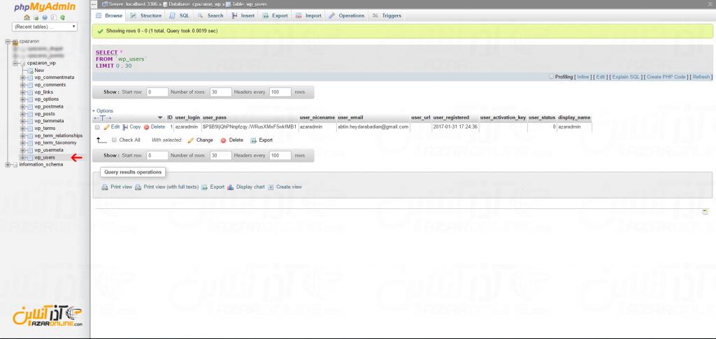 ریست کردن پسورد وردپرس از داخل cPanel انتخاب wp-users