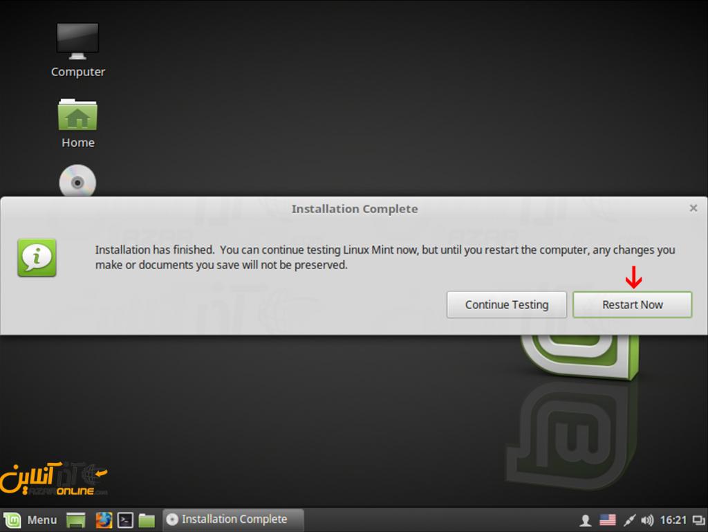 آموزش نصب لینوکس Mint - اتمام نصب