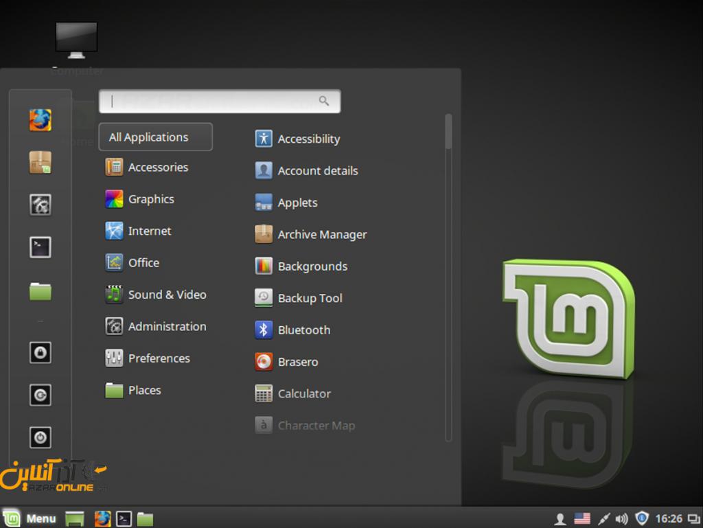 تصویری از محیط لینوکس Mint مینت