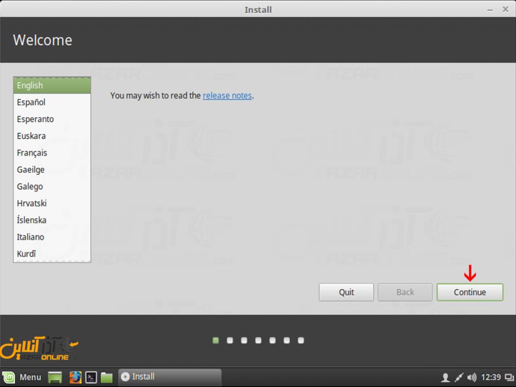 آموزش نصب لینوکس Mint - انتخاب زبان